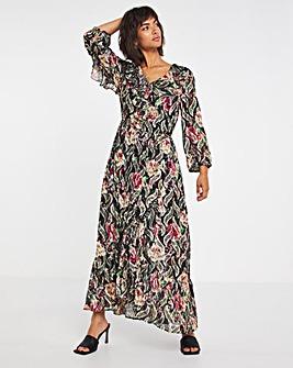 Joanna Hope Foil Print Ruffle Dress