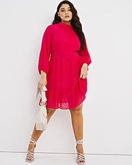 Joanna Hope Dobby Ruffle Mini Dress