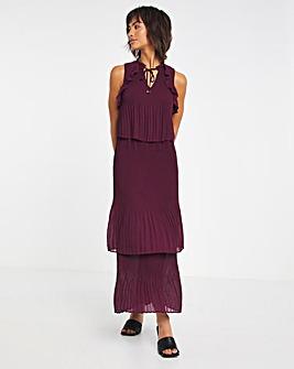 Joanna Hope Plisse Tiered Maxi Dress