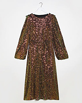 Lovedrobe Sequin Belted Midi Dress