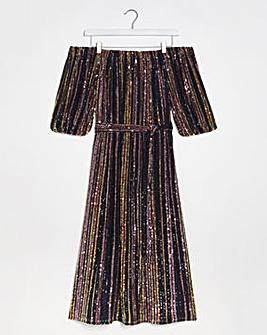 Lovedrobe Glitter Bardot Midi Dress
