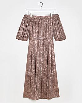 Lovedrobe Sparkle Bardot Midi Dress