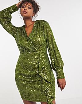 Little Mistress Ruffle Sequin Mini Dress