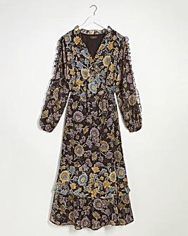 Lovedrobe Flocked Floral Wrap Dress