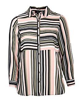 Lovedrobe GB stripe panel shirt