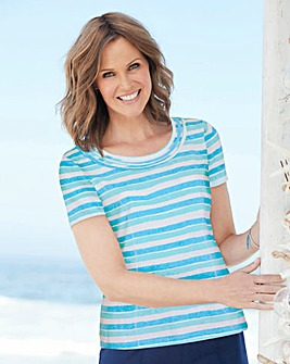 Print Jersey Top with Neck Detail