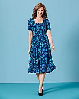 Print Square Neck Jersey Dress L45