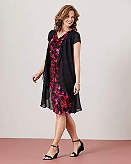 Print Jersey Dress with Chiffon