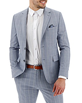 Light Blue Check Bill Regular Fit Suit Jacket
