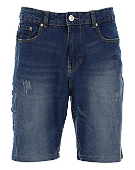 Washed Indigo Denim Abrasion Shorts