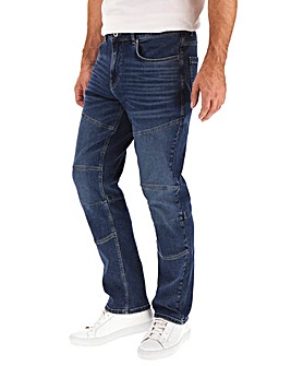 Darkwash Biker Style Straight Fit Jeans