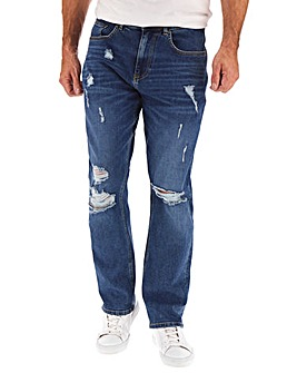 Mid Wash Ripped Straight Fit Jeans