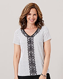 Spot Crepe Shell Top with Lace Trim