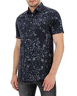 Grey Print Short Sleeve Shirt Long