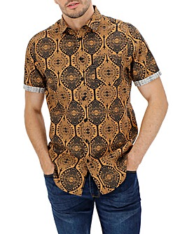 Brown Print Short Sleeve Shirt Long