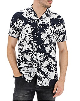 Black/White Short Sleeve Splatter Print Revere Collar Shirt Long