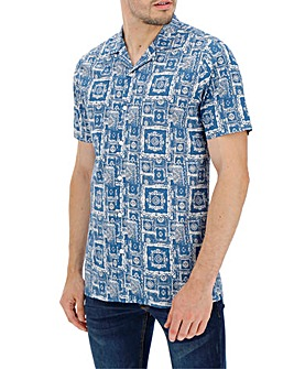 Blue Tile Print Short Sleeve Shirt Long