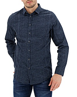 Navy Long Sleeve Print Shirt Long