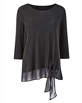 Slinky Tunic Top with Chiffon Trim