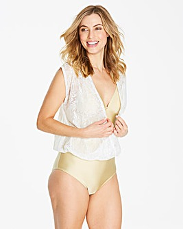 Gold Blouson Swimsuit With Crochet