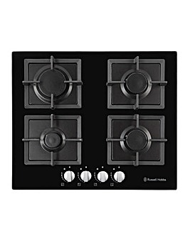 Russell Hobbs RH60GH402B Black Glass 60cm Wide 4 Burner Gas Hob