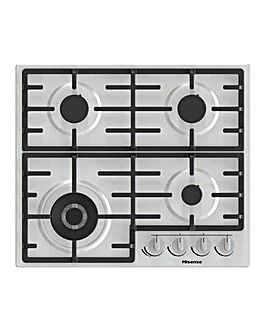 Hisense GM663XUK Stainless Steel 60cm Gas Hob with Surface Max and Wok Burner