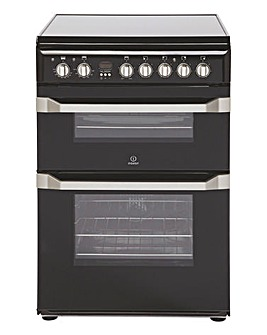 Indesit ID60C2KS Black 60cm Electric Ceramic Double Oven Cooker