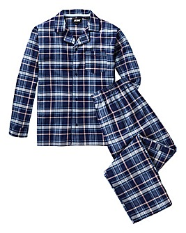 Navy Check Long PJ Set