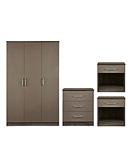 Miami Gloss 4 Piece Bedroom Package (2xBedside, 3 Drawer Chest, 3 Door Wardrobe)