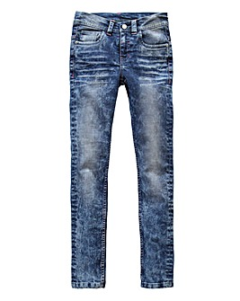 Girls Acid Wash Jeans Generous Fit