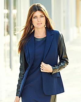JOANNA HOPE Pu Sleeve Tailored Jacket