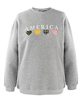 Daisy Street America Slogan Sweatshirt