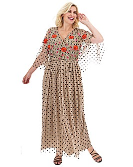 Lovedrobe Flock Spot Maxi Dress