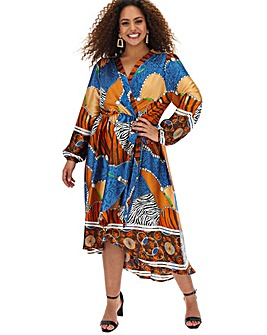 AX Paris Scarf Print Dip Hem Wrap Dress
