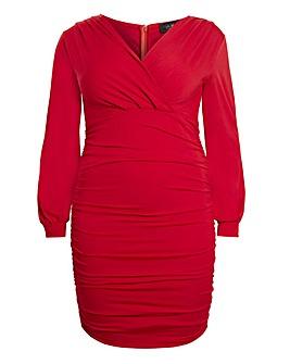 AX Paris Wrap Over Ruched Dress