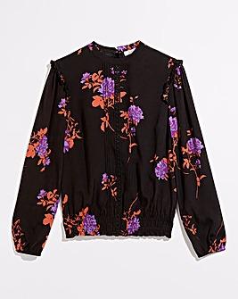 Oasis Curve Violet Floral Lace Trim Top