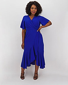 Lovedrobe Cobalt Ruffle Wrap Dress