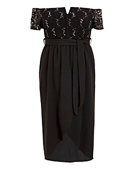 Quiz Sequin Lace Bardot Midi