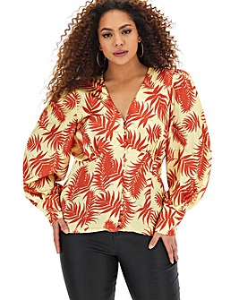 Glamorous Tropical Puff Sleeve Blouse