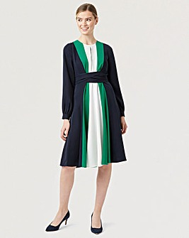 Hobbs Tie Waist Stripe Dress