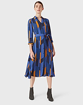 Hobbs Diamond Printed Skater Shirt Dress