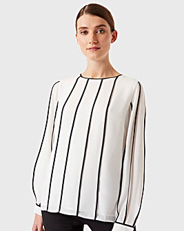 Hobbs Tipped Lorelai Long Sleeve Blouse