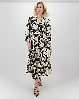 Calvin Klein Floral Midi Shirt Dress With 3/4 Sleeve