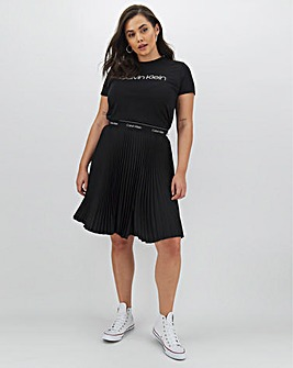 Calvin Klein Pleated Knee Length Elastic Skirt