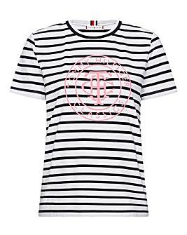Tommy Hilfiger Pink Logo Striped Tee