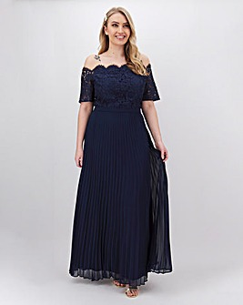 Oasis Holly Lace Top Bardot Pleated Maxi