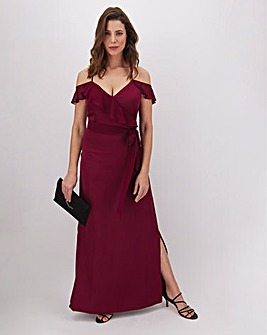 Oasis Naomi Ruffle Satin Maxi Dress