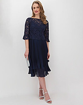 Oasis Maria Flute Sleeve Pleated Tiered Midi Dress