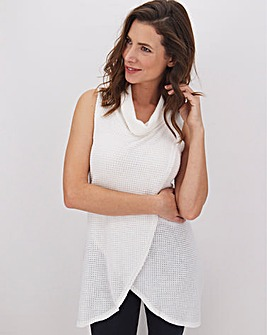 Apricot Sleeveless Top with Cowl Neck
