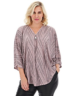 Apricot Geometric Print Draped Zip Top